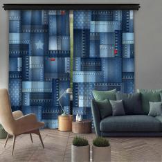 Denim Texture 2 Piece Panel Curtain