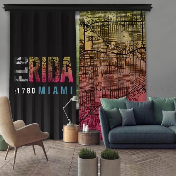 Florida-Miami Çift Kanat Fon Perde