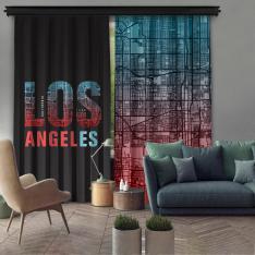 Los Angeles Çift Kanat Fon Perde