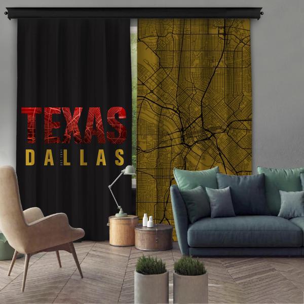 Texas-Dallas Çift Kanat Fon Perde