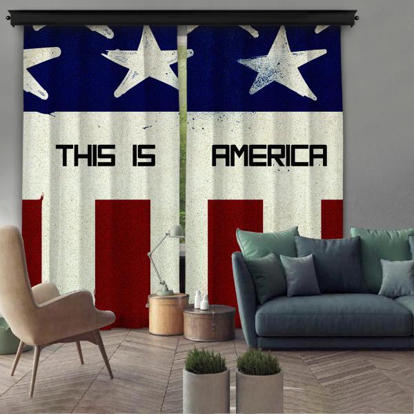 ''This Is America'' Çift Kanat Fon Perde