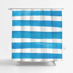 Blue-White Striped Shower Curtain