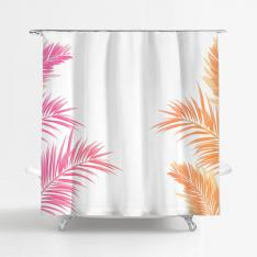Pink-Orange Leafy Shower Curtain