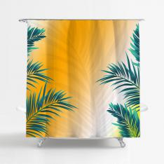Orange Tropical Leaves Shower Curtain