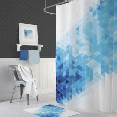 Cipcici Blue-Squares Shower Curtain