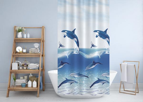 Cipcici Dolphins&Whales Shower Curtain