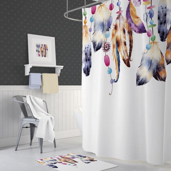 Cipcici Feathers Shower Curtain
