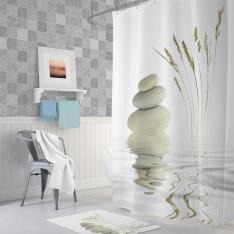 Cipcici Stone-and-Grass Shower Curtain