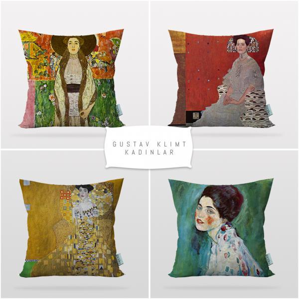 Gustav Klimt Kadınlar 4'lü Kırlent Kılıf Seti