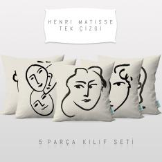 Henri Matisse One Line Drawing 5 Pieces Pillow Cover Set