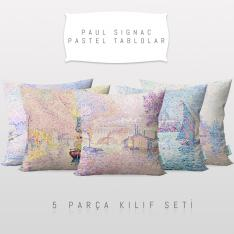 Paul Signac Pastel Paintings 5 Pieces Pillow Cover Set