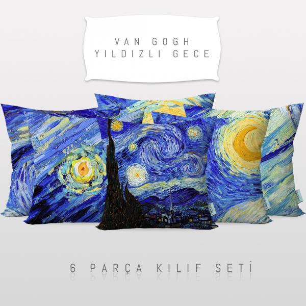 Vincent Van Gogh Yıldızlı Gece 6'lı Kırlent Kılıf Seti