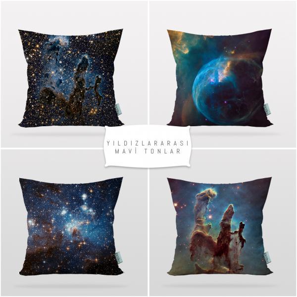 Yıldızlararası-Mavi Tonlar 4'lü Kırlent Kılıf Seti