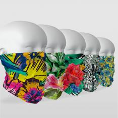''Floral Designs'' 5 Piece Multifunctional Masks & Headwear Series
