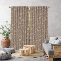 Boho Hand-Drawing Shapes Single Panel Curtain-Beige