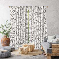 Boho Hand-Drawing Shapes Single Panel Curtain-Ecru