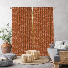Boho Hand-Drawing Shapes Single Panel Curtain-Brick Color