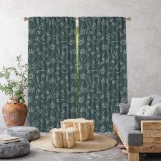 Boho Hand-Drawing Shapes Single Panel Curtain-Green