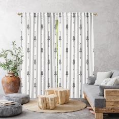 Boho Ethnic Pattern Single Panel Curtain-White