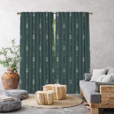 Boho Ethnic Pattern Single Panel Curtain-Pine Green