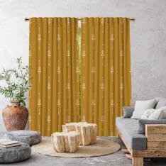 Boho Ethnic Pattern Single Panel Curtain-Mustard Yellow