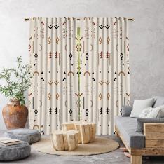 Boho Stili Decoratif Desenler Tek Kanat Fon Perde-Krem