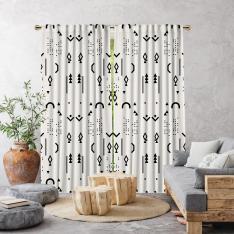 Boho Style Decorative Patterns Single Panel Curtain-White