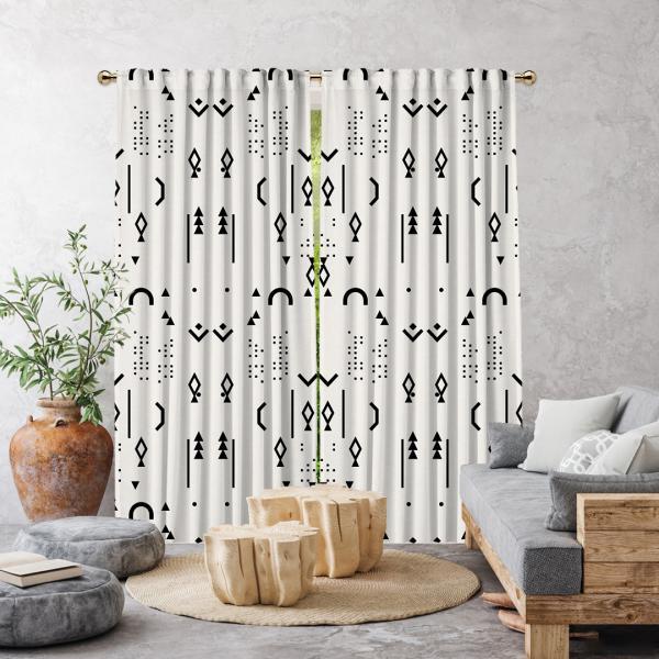 Boho Stili Dekoratif Desenler Tek Kanat Fon Perde-Beyaz