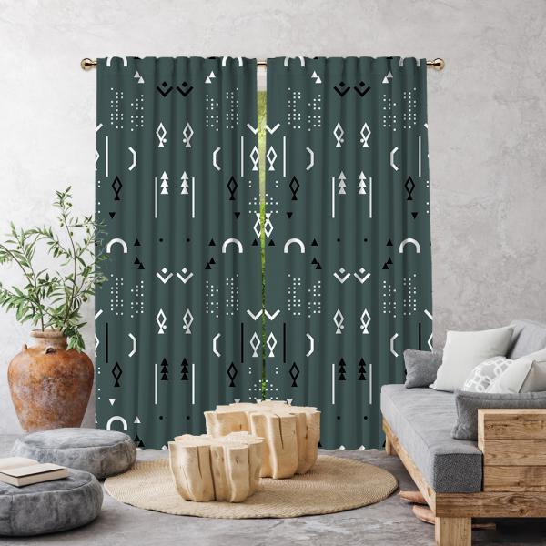 Boho Stili Dekoratif Desenler Tek Kanat Fon Perde-Koyu Mint Yeşili