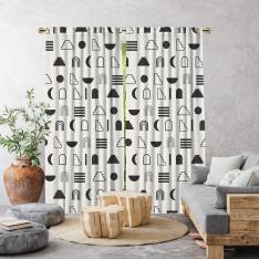 Dekoratif Geometrik Desen Tek Kanat Fon Perde-Beyaz