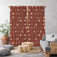 Decorative Geometric Pattern Single Panel Curtain-Brick Color