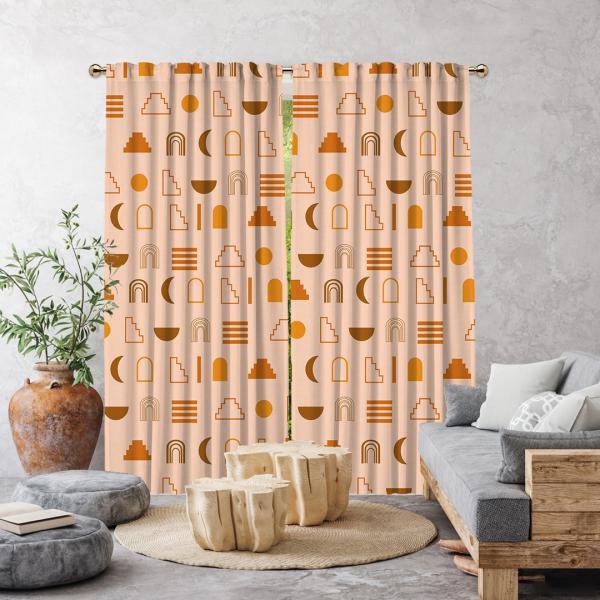 Dekoratif Geometrik Desen Tek Kanat Fon Perde-Somon Rengi