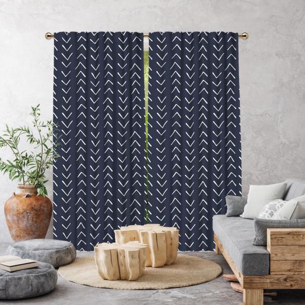 Ethnic Pattern Single Panel Decorative Curtain-Navy Blue