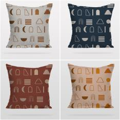 Decorative Geometric Pattern 4 Pieces Pillow Cover Set