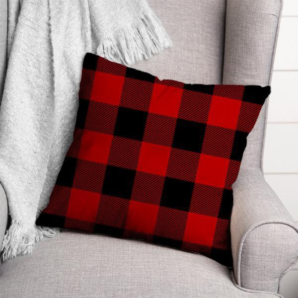 Ekose Desen Kırlent-Kırmızı/Siyah