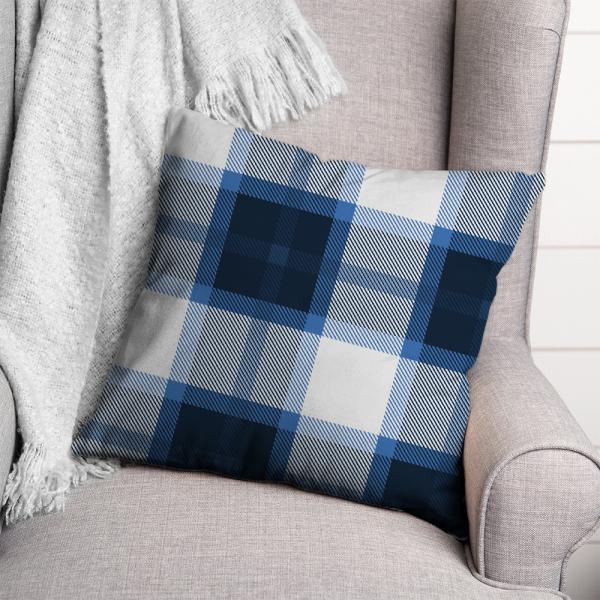Ekose Desen Kırlent-Mavi/Beyaz