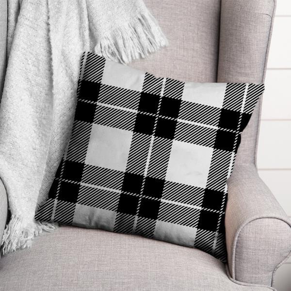 Ekose Desen Kırlent-Siyah/Beyaz