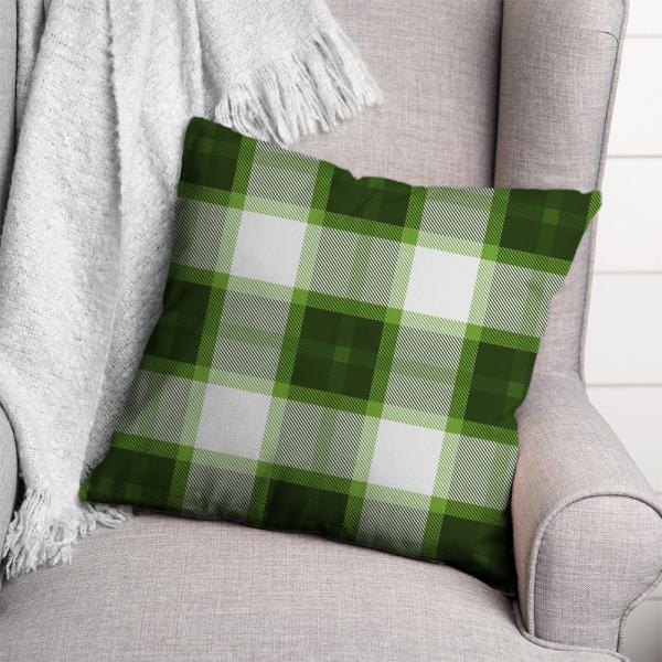 Ekose Desen Kırlent-Yeşil/Beyaz