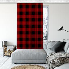 Ekose Desen Tek Kanat Fon Perde-Kırmızı/Siyah