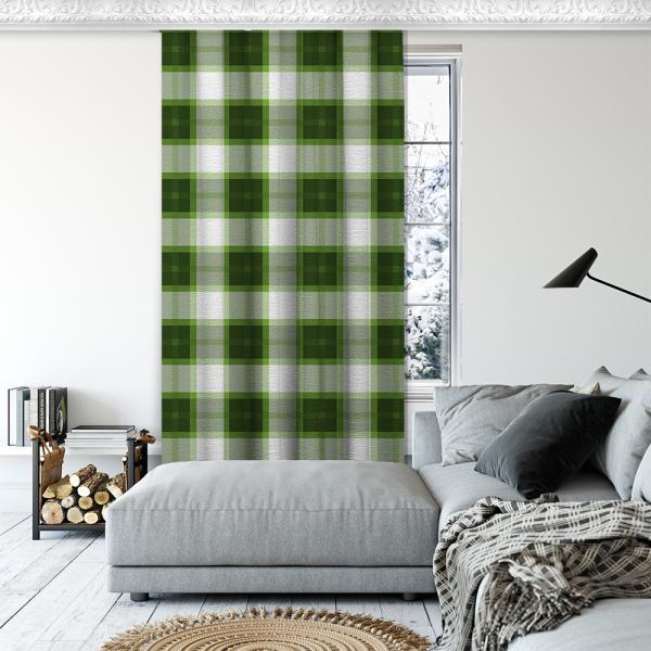 Ekose Desen Tek Kanat Fon Perde-Yeşil/Beyaz