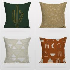 Colored Drawings 4 Pieces Pillow Cover Set