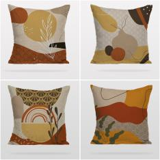 Earth Colored Decorative Patterns 4 Pieces Pillow Cover Set