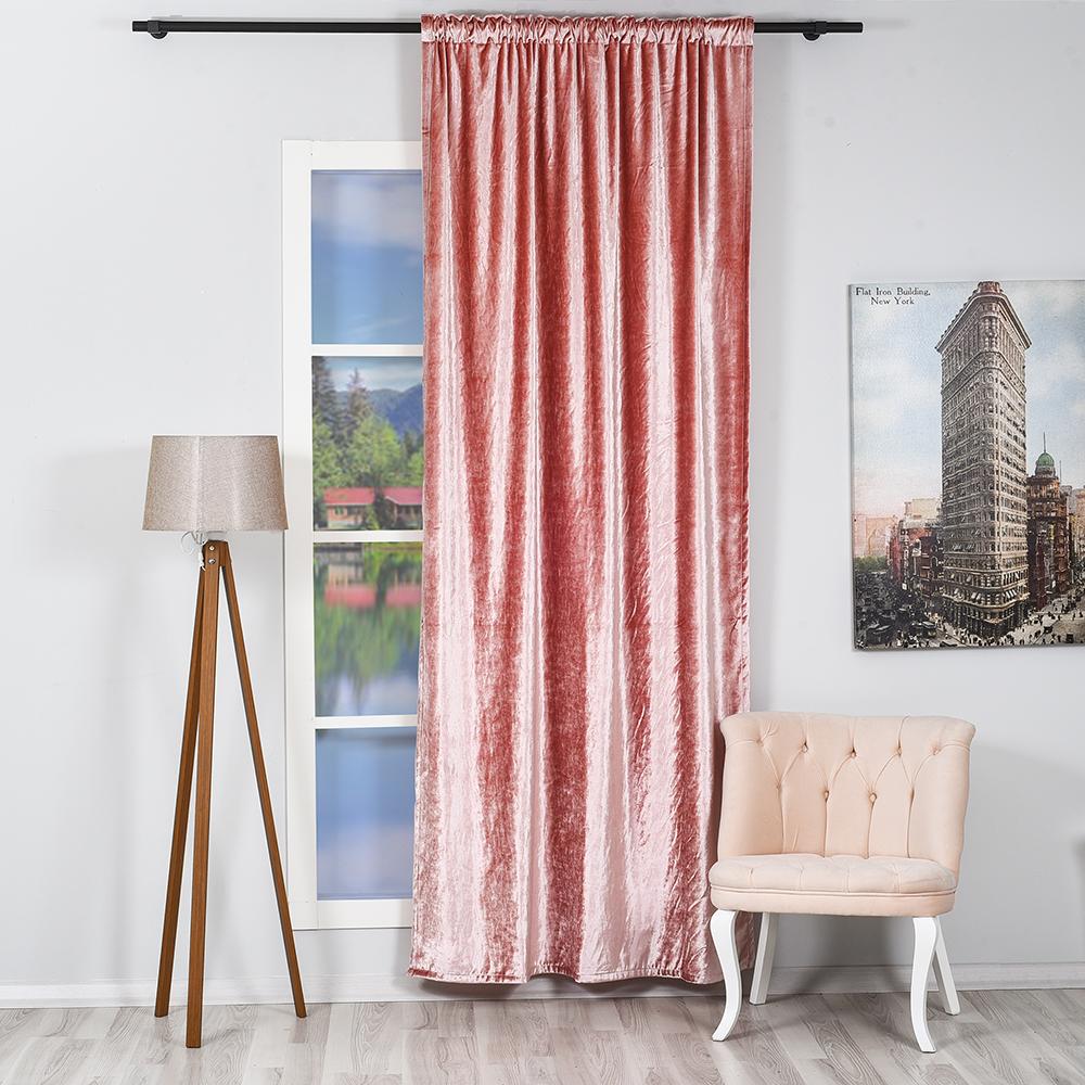 Baby Pink Shiny Luxury Velvet One Piece Curtain