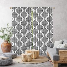 Boho Style Wavy Line Single Panel Curtain-Ecru
