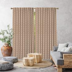 Herringbone Boho Pattern Single Panel Curtain-Beige