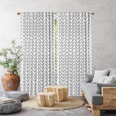 Herringbone Boho Pattern Single Panel Curtain-White