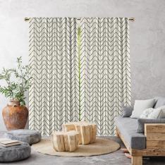 Herringbone Boho Pattern Single Panel Curtain-Ecru