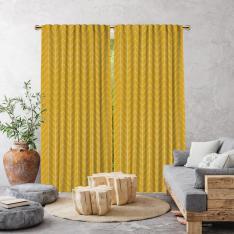 Herringbone Boho Pattern Single Panel Curtain-Mustard Yellow
