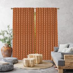 Herringbone Boho Pattern Single Panel Curtain-Brick