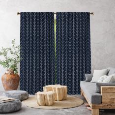Herringbone Boho Pattern Single Panel Curtain-Navy Blue